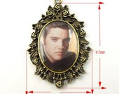 Bronze tone sleepy King of Rock and Roll Elvis alloy charm Pendants 2PCs -09863