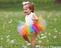 Ready To Ship - First Birthday Candy Rainbow TuTu  - Baby Girl 3 6 9 12 18 24 Months 2T 3T 4T - Photo Prop, Halloween Costume, Shower Gift