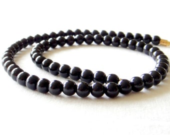 "Black Onyx Necklace 6mm 16"". Genuine Natural Stone Beads. 6mm Black Onyx Beads. MapenziGems"