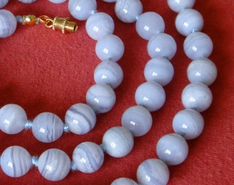 Blue Lace Agate Necklace. 8mm Round Beads. Various Lengths. Hand Knotted. Grade 'A' Therapeutic Necklace. Genuine Stone. MapenziGems