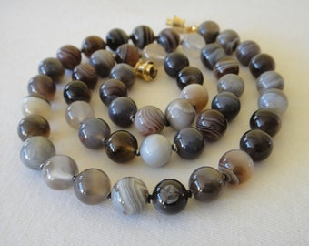 10 mm Botswana Agate Necklace. 23 inches Long. Genuine Natural Stone. Multi Color Agate Stone Beads. Therapeutic Necklace. MapenziGems