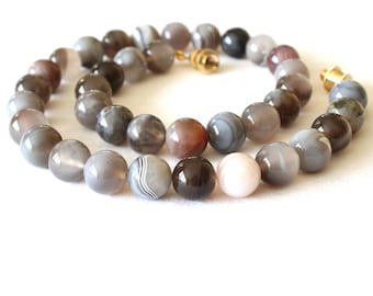 10 mm Botswana Agate Necklace. 16 inches Long. Genuine Natural. Multi Color Botswana Agate Stone Beads. Therapeutic Necklace. MapenziGems