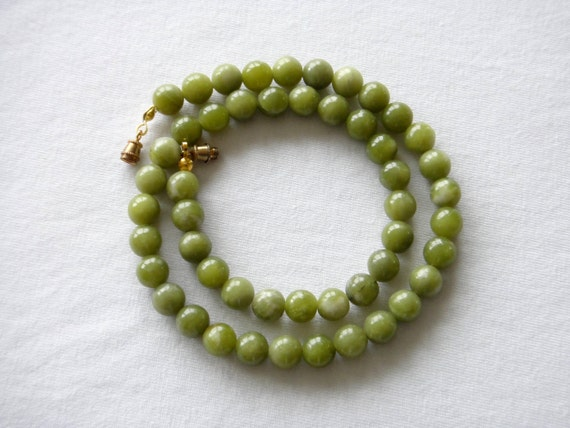 """8mm Nephrite Jade Necklace. 18"""" ---RESERVED FOR DONNA----Lime Green Jade Stone. Natural Stone. MapenziGems"""
