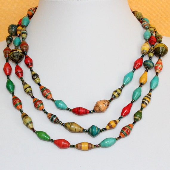 Multi Color Paper Beads Necklace. Extra Long Lariat. Papier Mache Beads. Ethnic Style. Hand Rolled. Paper Marche PS11. MapenziGems