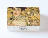 Vintage Look Jewelry Wooden Box With A Fragment of Gustav Klimt's Painting - White, Natural, Organic, Eco-firendly, Art