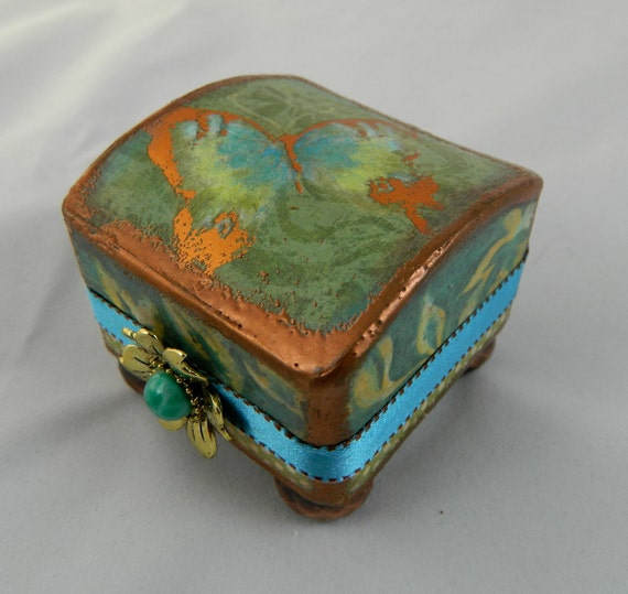 Awesome presentation box jewelry box re gifting box aquas and green with copper embossing altered box proposal box treasure box