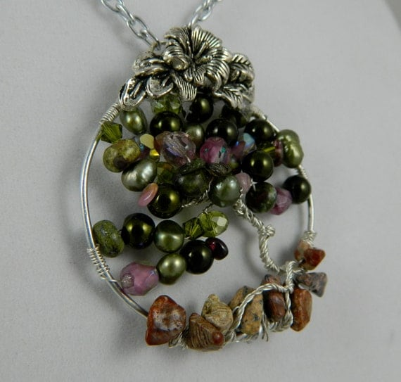 women's jewelry pendant tree of life summer fruit tree jasper freshwater pearls glass beads and crystals Nature inspired