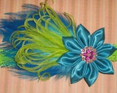 RESERVED for CHELSIE Baby Headband in Lime Lace Trim Elastic with Turquoise Kanzashi Flower and Feathers--Posh Baby Girl