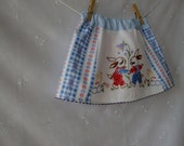 Vintage recycled fabric hand embroidered bunnies skirt, size 1 to 3 years