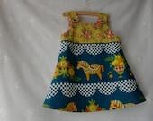 Recycled upcycled vintage fabric folkloric Dala horse dress pinafore jumper dress, boho, girl's dress, baby toddler dress 70's fabric