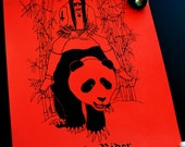 Pale Rider - 8.5 x 11 print on red paper from an original drawing of a black metal musician riding a panda in bamboo forest, death metal