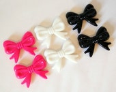 Bow plastic charms mixed colors lot 6pcs