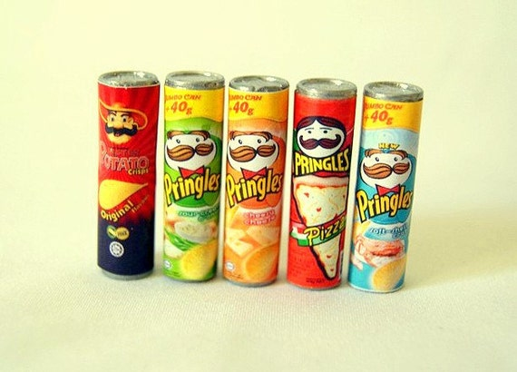 Food miniatures Pringles potatoes bottles - 5pcs