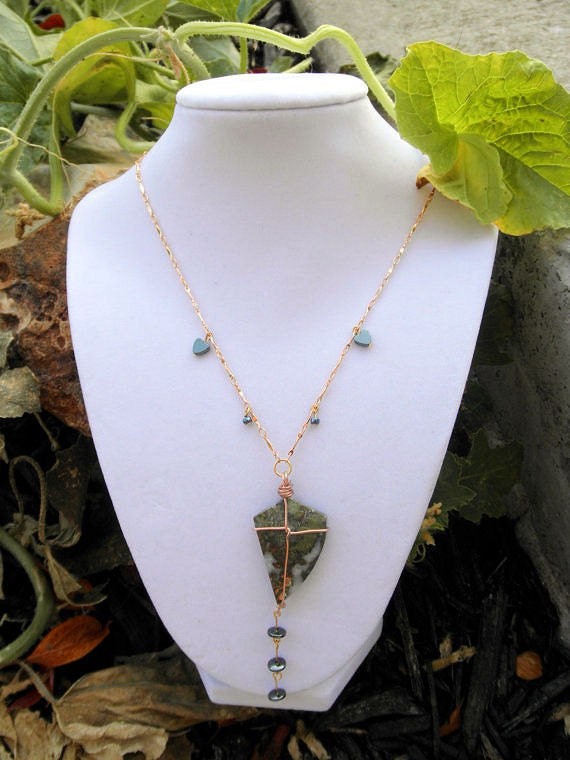 Flying Cabochon Wire Wrapped Necklace