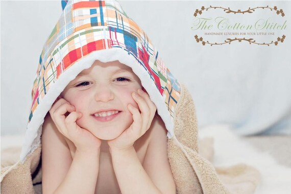 Brown Madras Hooded Towel for Boys (baby and toddler)