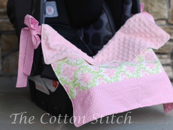 Baby Girl Damask Car Seat Blanket
