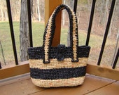 Tote bag from recycled bags in Black and Brown