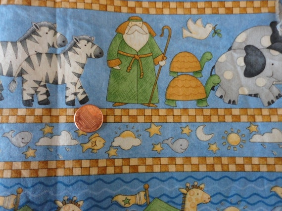 Noah 39 s ark nursery print cotton fabric for Nursery print fabric