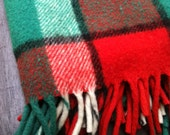 Black Friday Cyber Monday Etsy SALE Beautiful Vintage Plaid Thick Wool Tartan Throw Blanket