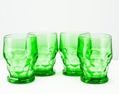 Set of Four Vintage Green Glass Tumblers
