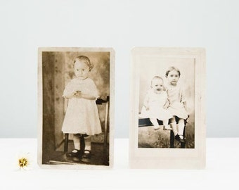 Pair of Darling Original Identified Little Girls Antique Real Photo Postcards