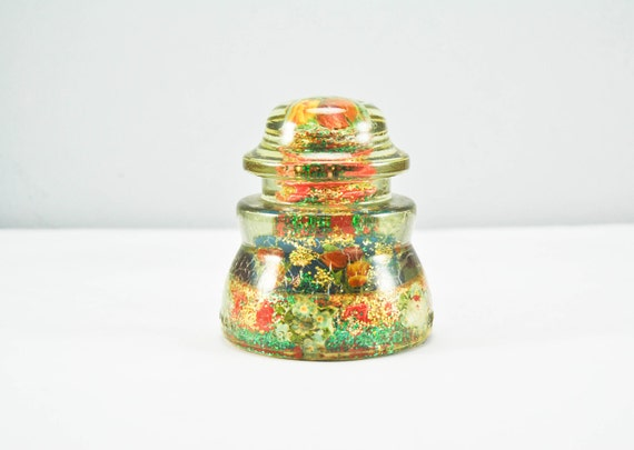 Limited Time SALE Rare Unique One Of A KInd Found Art Vintage Glass Insulator
