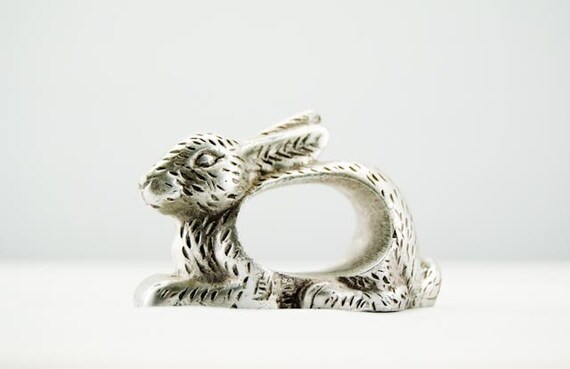 Cute Shafford Pewter Bunny Rabbit Napkin Ring