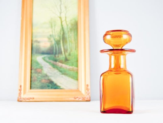 Small Vintage Amber Apothecary Bottle