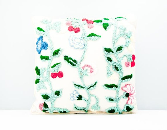 Amazing Vintage Crewel Needlework Throw Pillow