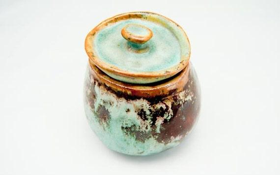 Flash SALE Vintage Handmade Teal & Brown Matte Glazed Pot