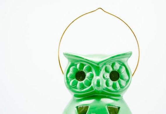 Cool Unique Vintage Green Owl Hanging Candle Holder