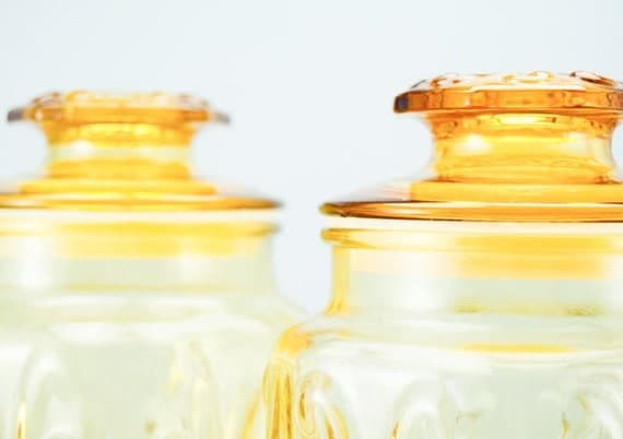SALE Pair of Large Vintage Honey Yellow Apothecary Jars