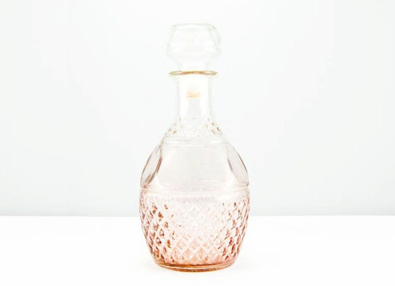 RESERVED for SEPTEMBER Large Vintage Mauve Glass Textured Liquor Decanter With Crown Stamp & Grapes