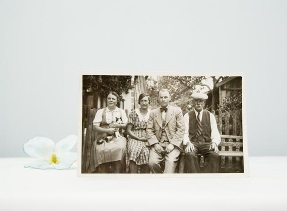Lovely Antique German Real Photo Postcard Family & Kitty 1939