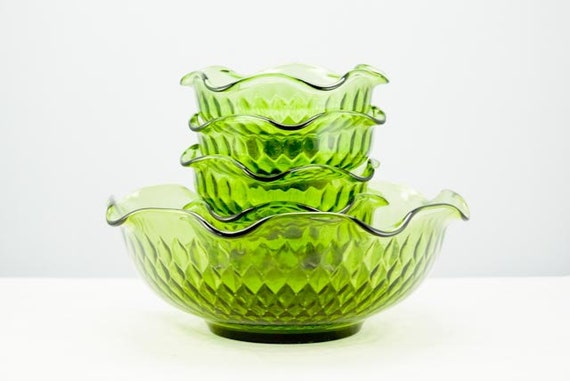 RESERVED for BUNNY Green Vintage Glass Six Piece Bowl Set