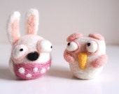 "What Happened ""10"", White Rabbit and Bird, handmade needle felting"