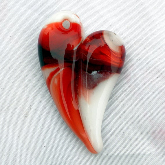 Glass Heart Pendant Necklace Lampwork Hand Blown Boro Large Red and White Heart