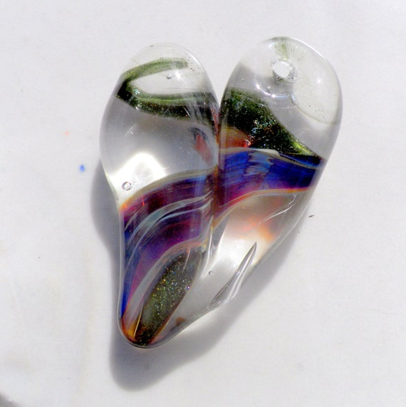 Glass Heart Pendant Jewelry Necklace Lampwork Hand Blown Boro Heart, Purple and Green Sparkle TwistFree Shipping