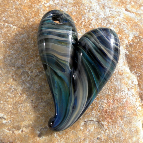 Heart Necklace Glass Jewelry Pendant Lampwork Hand Blown Boro SRA many shades of blue twisted.