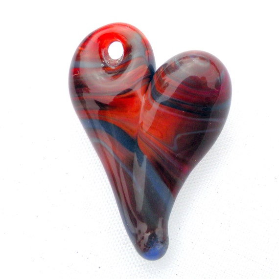Heart Jewelry Glass Pendant Necklace Lampwork Hand Blown Boro Heart Red purple