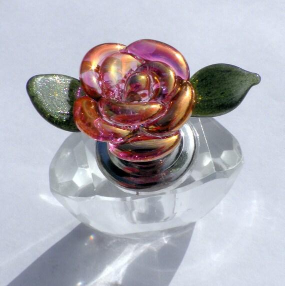 Perfume Bottle Glass Rose Flower Crystal Lampwork Handblown Pink Gold SRA