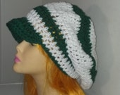 Green and White Slouch Beret