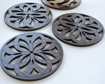 "Warm Geometric Design Coasters ""Rosa"" - Set of Four -"