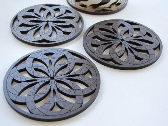 "Warm Geometric Design Coasters ""Rosa"" - Set of Four -"