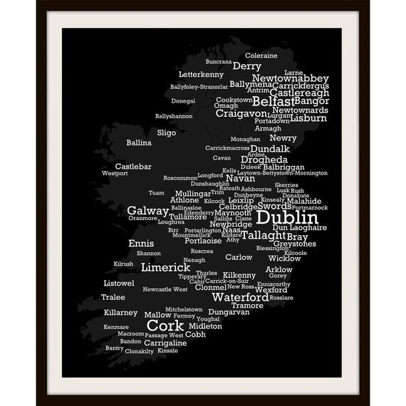 "PERSONALISED Ireland typography art poster, Island of Ireland - Map of biggest Irish Towns, 10"" x 8"" print - Made in Ireland"