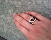 Bead woven Peyote Ring in Black Whit and red with diamond pattern