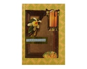 Journal Notebook Diary Notepad - 5 in by 7 in with 80 lined sheets - Anthropologie Style - Burnt Yellow Green & Brown - Lined Journal
