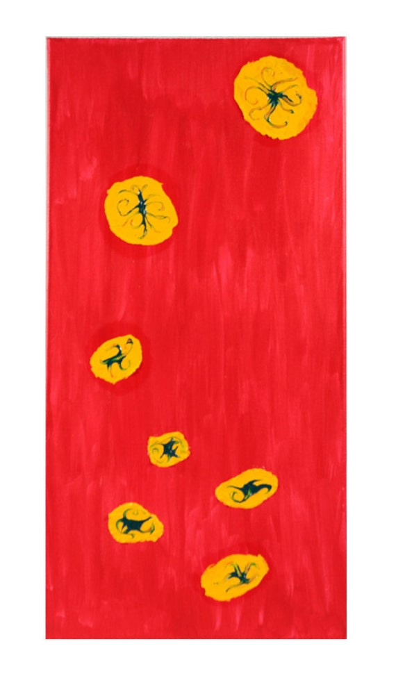 Abstract Red, Yellow Acrylic Painting.  15 in by 30 in Red background with Yellow and Phthalo Green shapes.