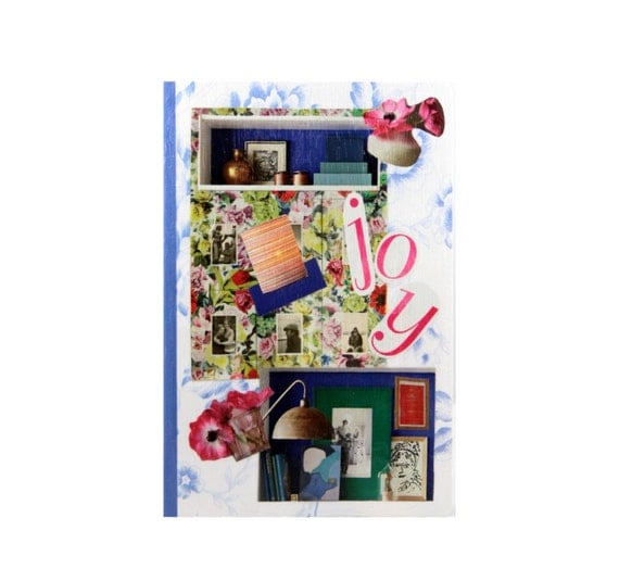 """Reserved. Journal entitiled, """"Joy.""""  Anthropologie Style with a bright, eclectic mix of colors.  5 in by 7 in with 80 lined sheets."""
