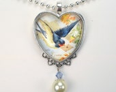 "French Blue Bird Delivering Love Letter ""Vintage Charm"" Art Glass Heart Pendant Necklace"